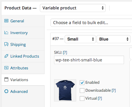 WooCommerce Automatic Variation SKUs