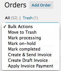 WooCommerce Freshbooks bulk invoice actions