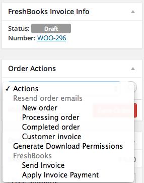 WooCommerce FreshBooks edit order screen