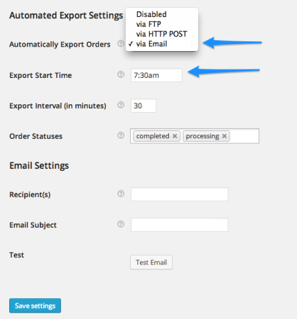 WooCommerce Order Export Settings