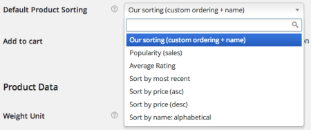 WooCommerce Default Sorting Options