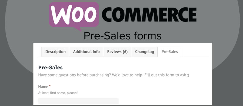 woocommerce pre-sales form