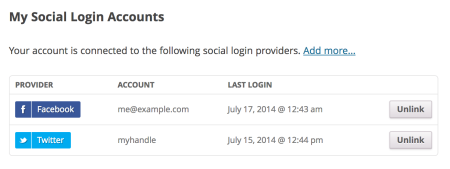 WooCommerce Social Sign In connected accounts