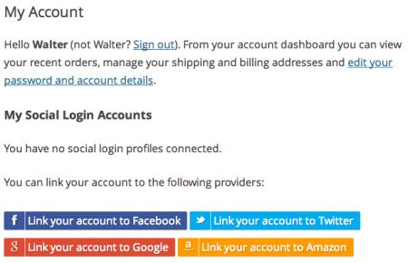 WooCommerce Social Login add accounts