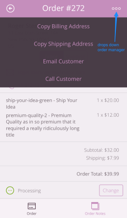 WooCommerce iOS | manage Order