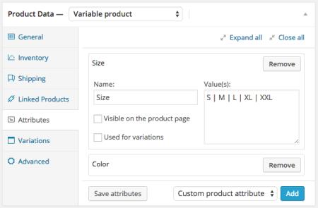 woocommerce Default Attribute settings