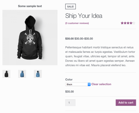 WooCommerce add text above product featured image
