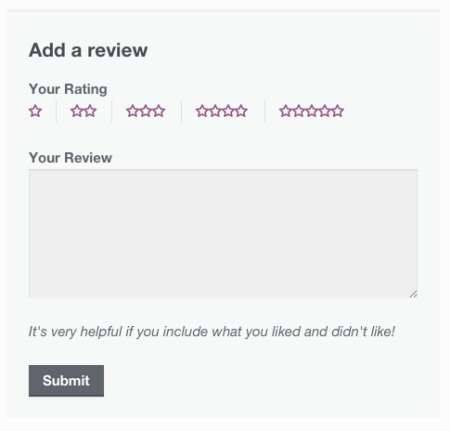 WooCommerce review form logged in edited