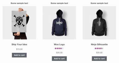 WooCommerce Shop Page add text above product images