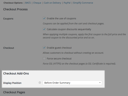 WooCommerce Checkout add-ons settings