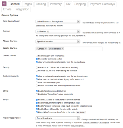 WooCommerce 1.4 Settings