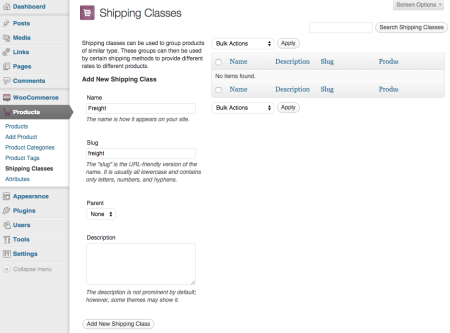 WooCommerce 1.4 Shipping classes