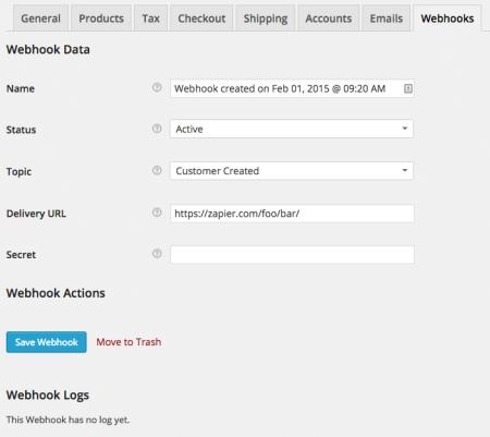 WooCommerce 2.3 Webhooks UI