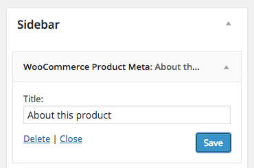 WooCommerce product meta widget settings