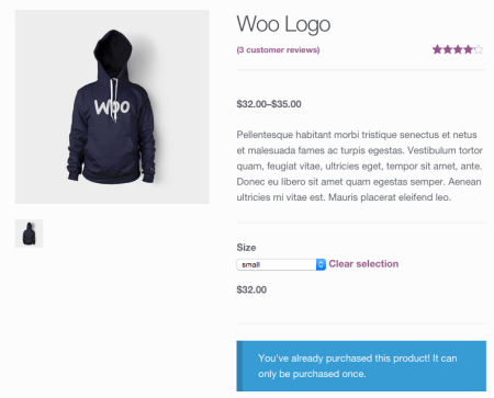 WooCommerce non-purchasable varitation
