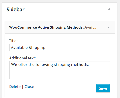 WooCommerce Widget in use