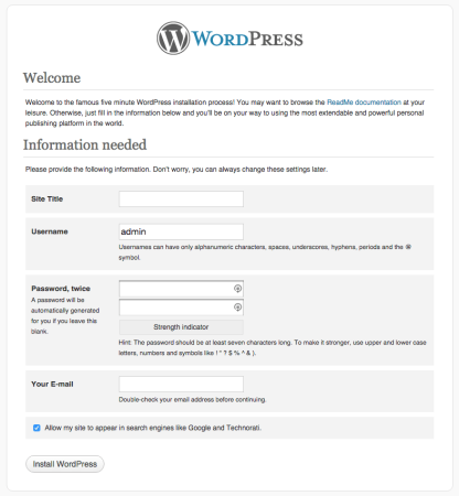 WordPress 3.2.1 installation