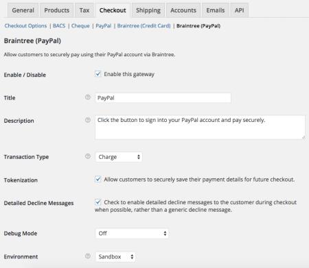 WooCommerce Braintree PayPal settings