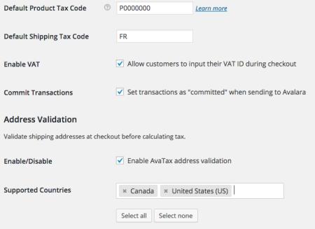 WooCommerce AvaTax settings sample