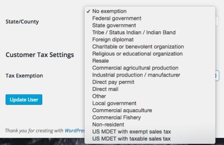 WooCommerce Avatax customer exemptions