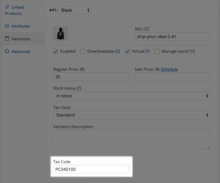 WooCommerce Avatax variation tax code