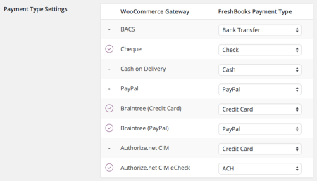 WooCommerce FreshBooks map payment methods