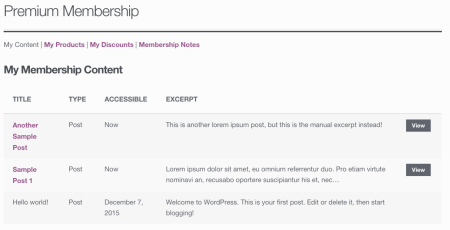 WooCommerce Memberships my membership content