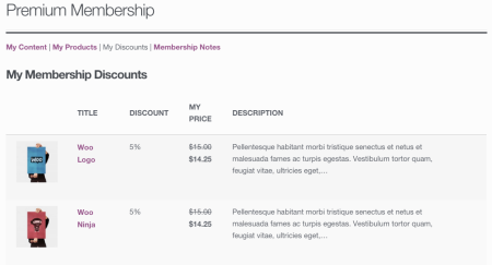 WooCommerce Memberships My Discounts