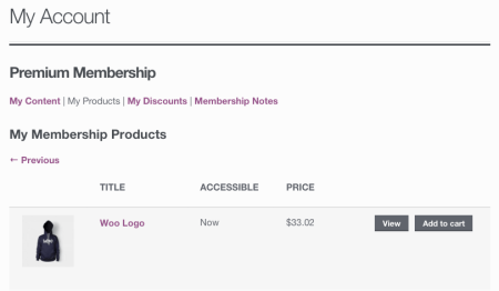 WooCommerce Memberships my products - no excerpt