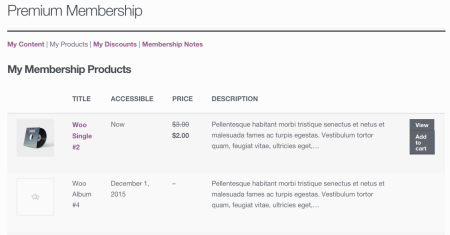 WooCommerce Memberships My Products