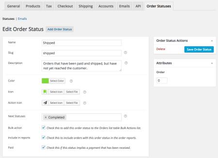 WooCommerce Order Status Manager Edit Status
