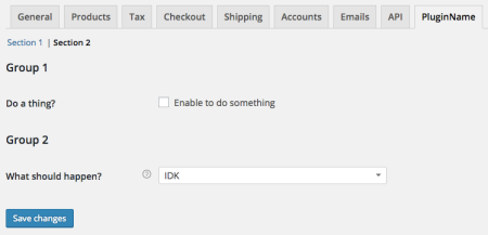 WooCommerce New Settings tab: section 2
