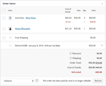 WooCommerce Cost of Goods refunds
