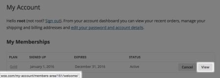 WooCommerce memberships member area link changed
