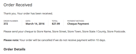 WooCommerce cheque payment further instructions