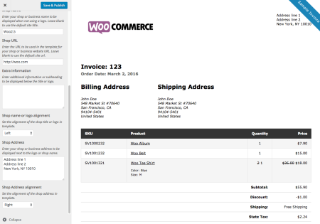 WooCommerce Print Invoices / Packing Lists customize invoice