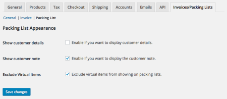 WooCommerce Print Invoices / Packing Lists packing list settings