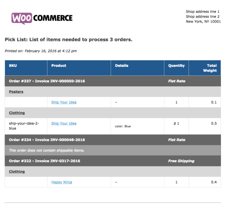 WooCommerce Print Invoices / Packing Lists pick list example