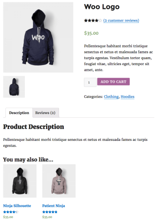 WooCommerce default upsell display