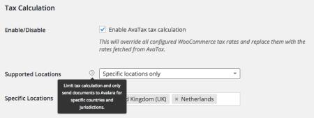 WooCommerce AvaTax locations