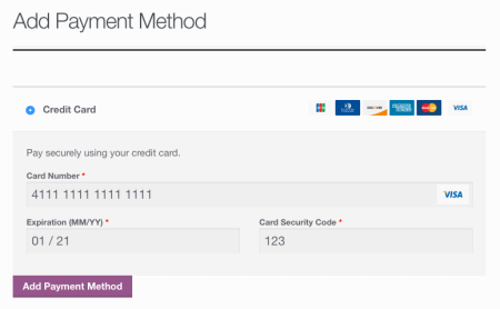WooCommerce First Data Add Saved Card