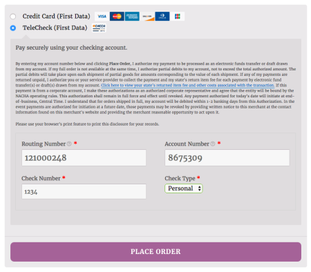 WooCommerce First Data Payeezy TeleCheck