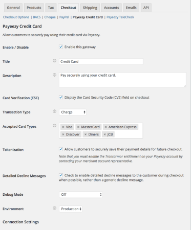WooCommerce First Data Payeezy Settings