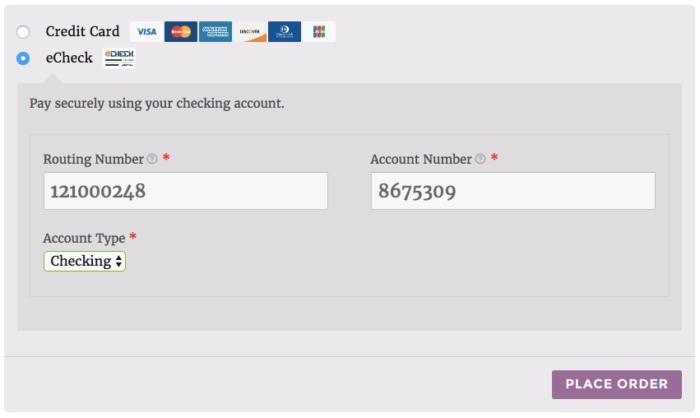 WooCommerce Authorize.net AIM eCheck form