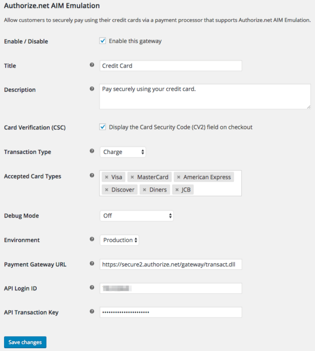 WooCommerce Authorize.net AIM Emulator settings