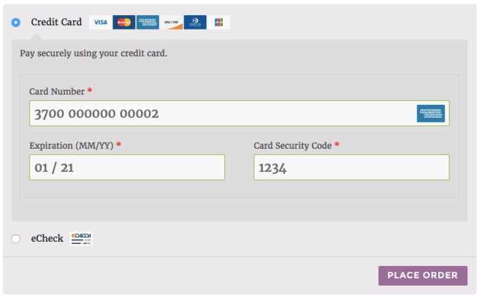 WooCommerce Authorize.net AIM enhanced credit card form