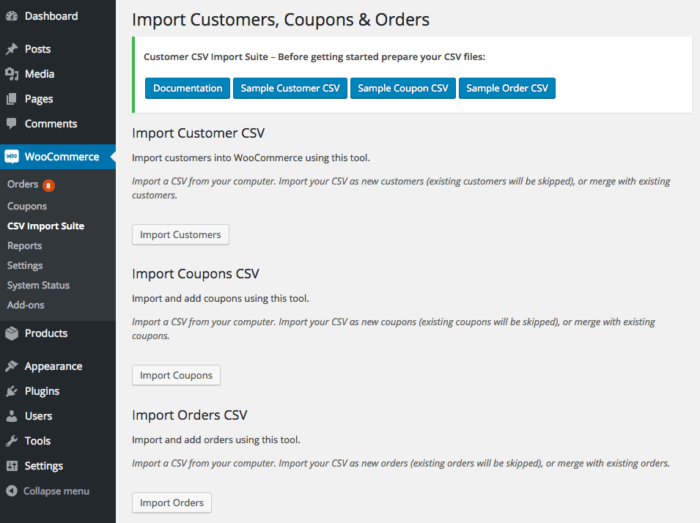 WooCommerce Customer Coupon Order CSV Import Suite