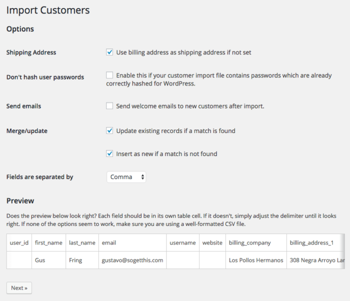 WooCommerce Customer / Coupon / Order CSV Import suite: settings and preview