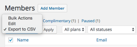 WooCommerce Memberships: Export members bulk action