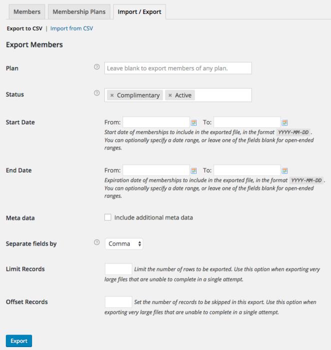 WooCommerce Memberships: export settings